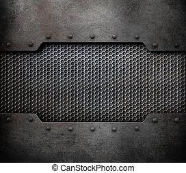 металл, задний план, with, rivets, 3d, иллюстрация