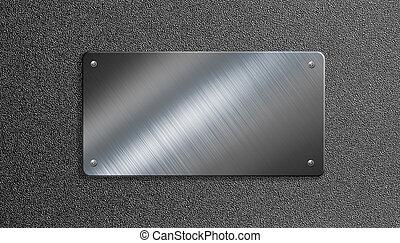 металл, пластина, with, rivets, 3d, иллюстрация