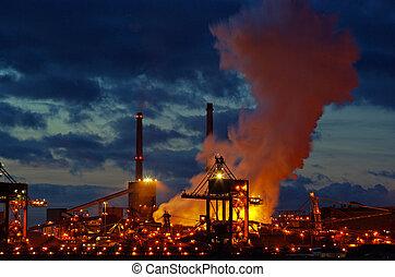 металл, промышленность, в, ночь