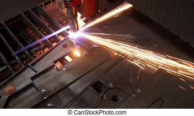 металл, резка, искры, лист, лазер