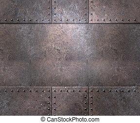 металл, текстура, with, rivets, задний план