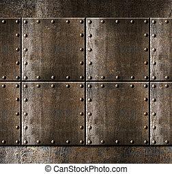 металл, armour, задний план, with, rivets