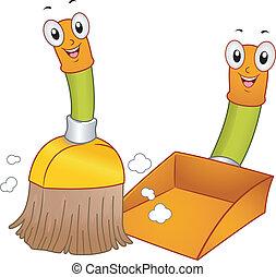 метла, совок для мусора, mascots