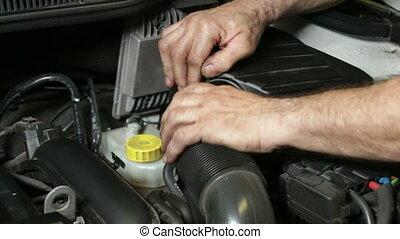 механик, монтаж, автомобиль, воздух, фильтр