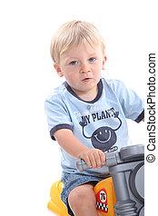милый, блондинка, ребенок, начинающий ходить, на, игрушка, велосипед