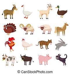 милый, задавать, овца, свинья, бык, лошадь, стиль, осел, isolated, озу, background., курица, белый, петух, козел, курица, корова, ферма, коллекция, утка, гусь, турция, кролик, мультфильм, собака, animals, illustration., кот, вектор