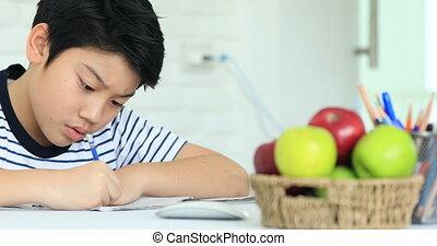 милый, мальчик, face., азиатский, улыбка, главная, домашнее задание