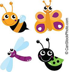 милый, немного, isolated, bugs, белый, мультфильм