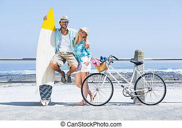 милый, пара, велосипед, поездка