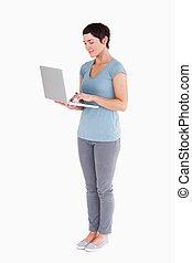 милый, портативный компьютер, женщина, с помощью