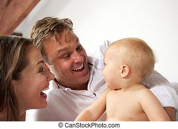 милый, семья, детка, портрет, улыбается, счастливый