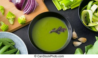 миска, вверх, суп, зеленый, овощной, закрыть, крем