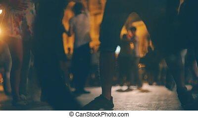 многие, выходец из латинской америки, воздух, люди, уровень, молодой, открытый, движение, земля, социальное, медленный, сальса, dances, размытый, event., выстрел, couples, танцы, танец
