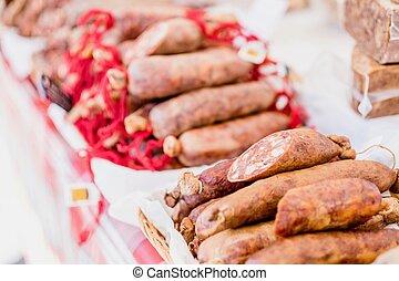 многие, chorico, воздух, sausages, корзина, открытый, рынок