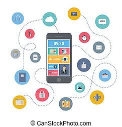 мобильный, коммуникация, концепция, иллюстрация
