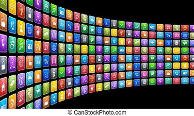 мобильный, applications, концепция