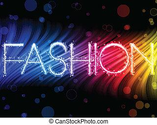 мода, абстрактные, красочный, waves, на, черный, задний план