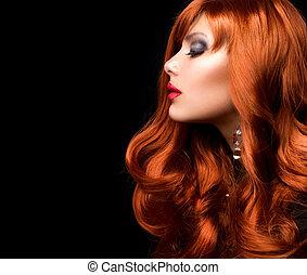 мода, волнистый, hair., портрет, девушка, красный