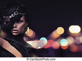 мода, леди, над, город, задний план