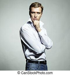 мода, портрет, of, молодой, красивая, человек, на, , белый, задний план