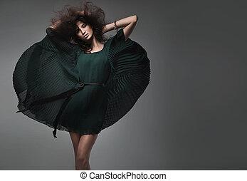 мода, стиль, студия, выстрел, of, , молодой, женщина