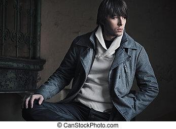 мода, стиль, фото, of, , красивый, парень
