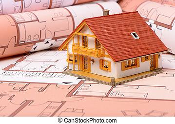 модель, дом, на, архитектурный, план