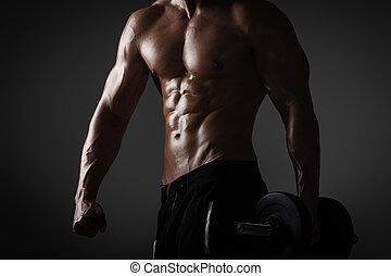 модель, молодой, мужской, спортивное, фитнес, без рубашки, dumbbells