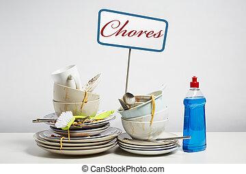мойка, блюда, needing, вверх, свая, грязный, задний план, белый