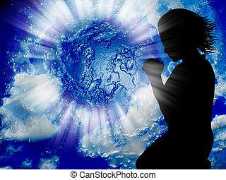 молиться, для, , мир