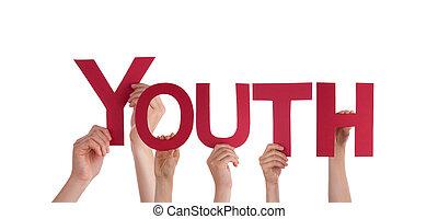 молодежь, держа, руки