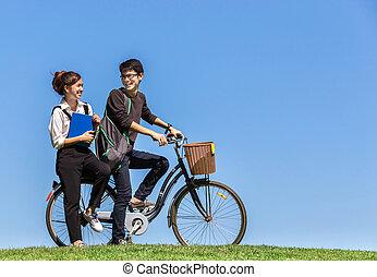 молодой, азиатский, students, поездка, , велосипед, в, университет, with, природа, ба