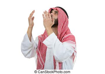 молодой, арабский, человек, of, мусульманка, религия, praying, isolated, на, белый, задний план
