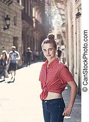 молодой, барселона, на открытом воздухе, streets, женщина, портрет