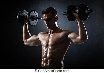 молодой, без рубашки, фитнес, dumbbells, спортивное, мужской, модель