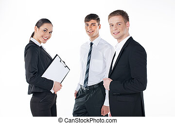 молодой, бизнес, команда, постоянный, together., три, люди, isolated, на, белый