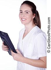 молодой, женский пол, врач, улыбается