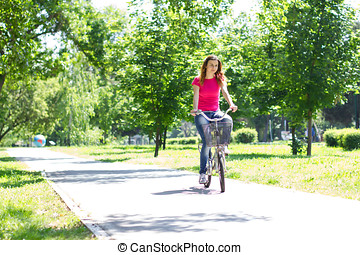 молодой, женщина, верховая езда, байк