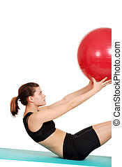 молодой, женщина, держа, упражнение, мяч