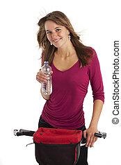 молодой, женщина, на, , гора, велосипед