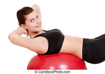 молодой, женщина, с помощью, упражнение, мяч