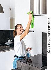 молодой, женщина, уборка, кухня, привлекательный