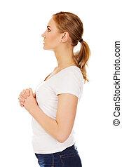 молодой, женщина, praying, -, религия, концепция