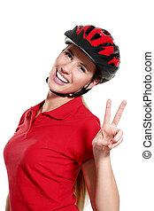 молодой, женщина, with, байк, шлем