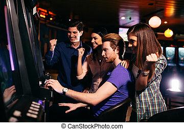 молодой, люди, в, , казино