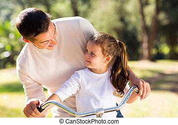 молодой, отец, верховая езда, велосипед, with, his, дочь