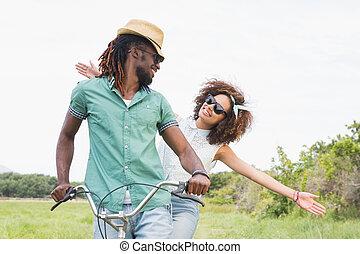 молодой, пара, на, байк, поездка