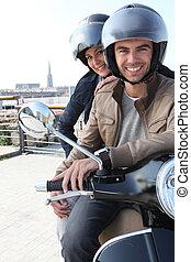 молодой, пара, having, , мотоцикл, поездка