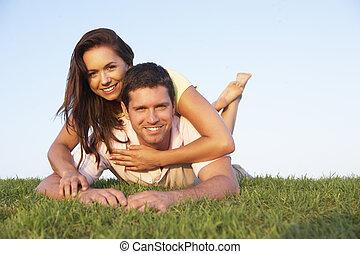 молодой, пара, posing, на, , поле