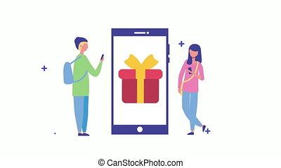 молодой, подарок, с помощью, смартфон, пара